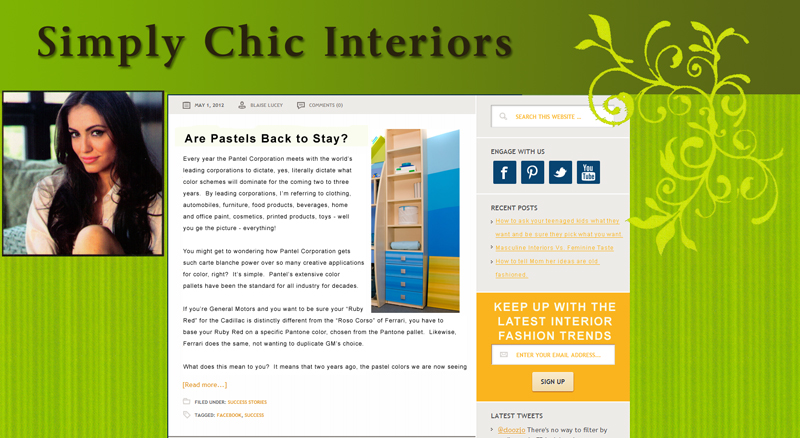 The Facebook page Avekta designed for Simply Chic Interiors