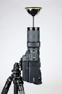 The JVC GY-MHQ10 4K camcorder with the GoPano device attached to the lens.